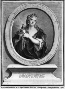 XIR382415 Adrienne Lecouvreur (1692-1730) engraved by Pierre Drevet (engraving)  by Coypel, Charles Antoine (1694-1752) (after); Musee de la Ville de Paris, Musee Carnavalet, Paris, France; (add. info.: Adrienne Lecouvreur (1692-1730) with Michel Baron she helped change traditional acting techniques of the French stage to simpler, more natural style); Giraudon; French, out of copyright
